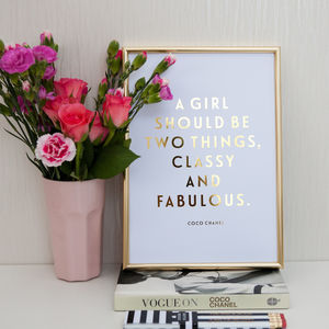 Foil 'Classy And Fabulous' Coco Chanel Quote Print