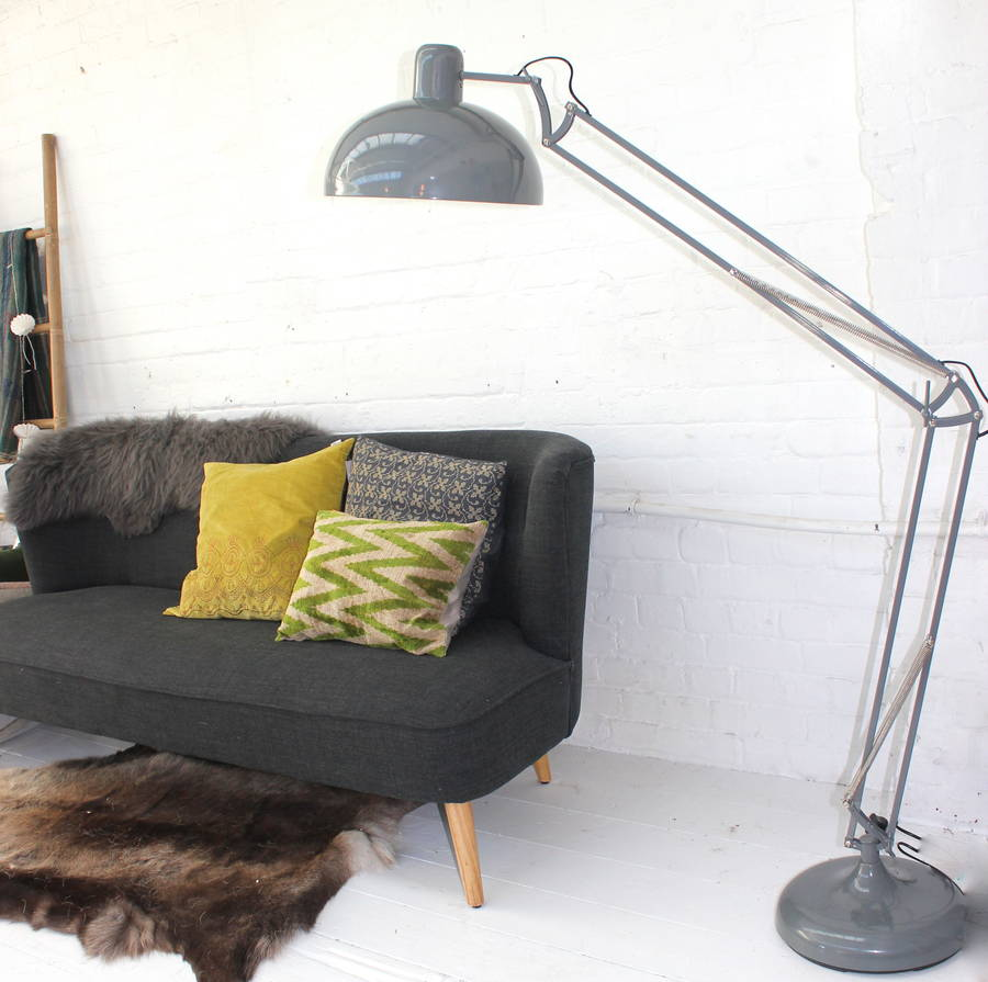 Soft grey floor lamp by the forest co notonthehighstreet soft grey floor lamp aloadofball Images