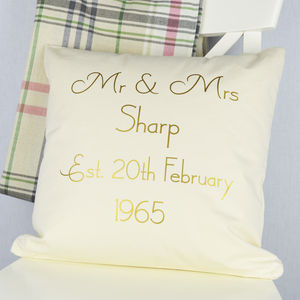 Personalised Golden 'Anniversary' Cushion