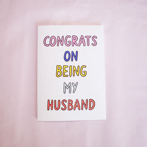 Congrats On Being My Husband Card - valentine's cards