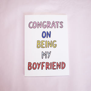 Congrats On Being My Boyfriend Card - valentine's cards