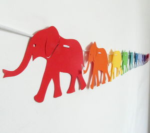 Rainbow Paper Elephant Nursery Garland