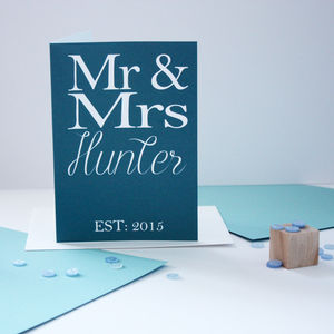 Personalised 'Mr And Mrs' Card - wedding, engagement & anniversary cards