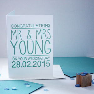 Personalised Congratulations Wedding Card - wedding gifts & cards sale
