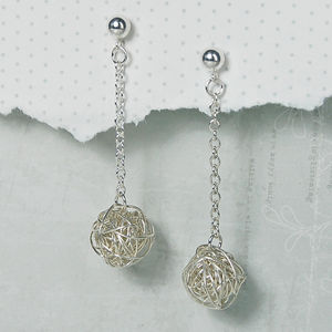 Sterling Silver Bird's Nest Drop Earrings - earrings