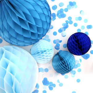 Boy Baby Shower Blue Paper Ball Collection - baby shower decorations