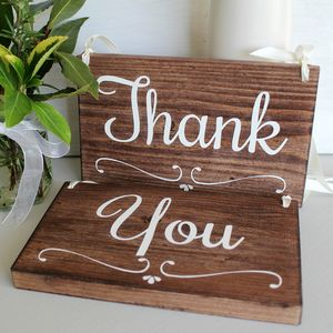 Thank You Set Of Two Handmade Wedding Signs - room decorations