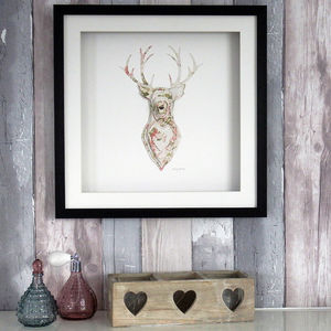 Framed 3D Stag Artwork - mixed media & collage