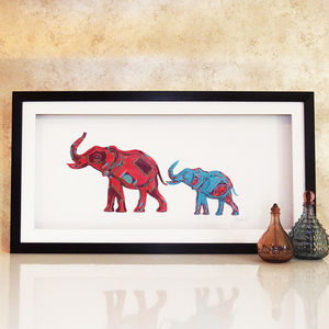 Framed 3D Parent And Child Elephant Artwork - contemporary art