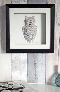 Framed 3D Owl Artwork