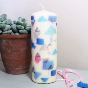 Geometric Circuit Pattern Candle - table decorations
