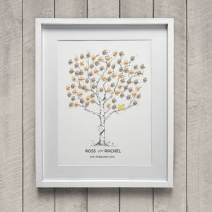 Birch Wedding Fingerprint Tree - posters & prints