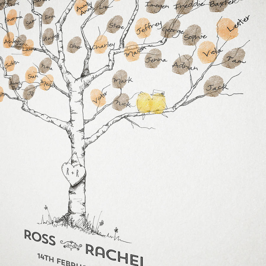 birch wedding fingerprint tree guest book by new forest print ...