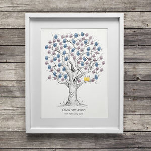 Oak Wedding Fingerprint Tree - gifts for her