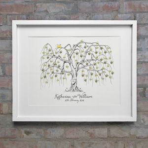 Willow Wedding Fingerprint Tree - posters & prints