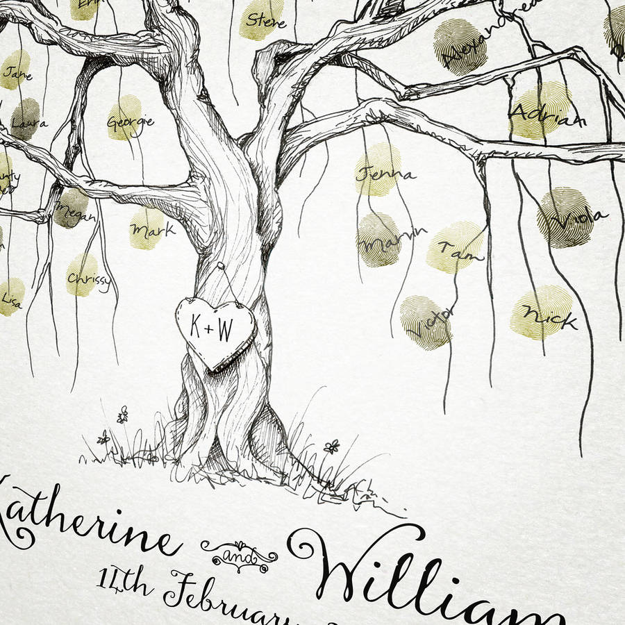 willow wedding fingerprint tree guest book by new forest print ...