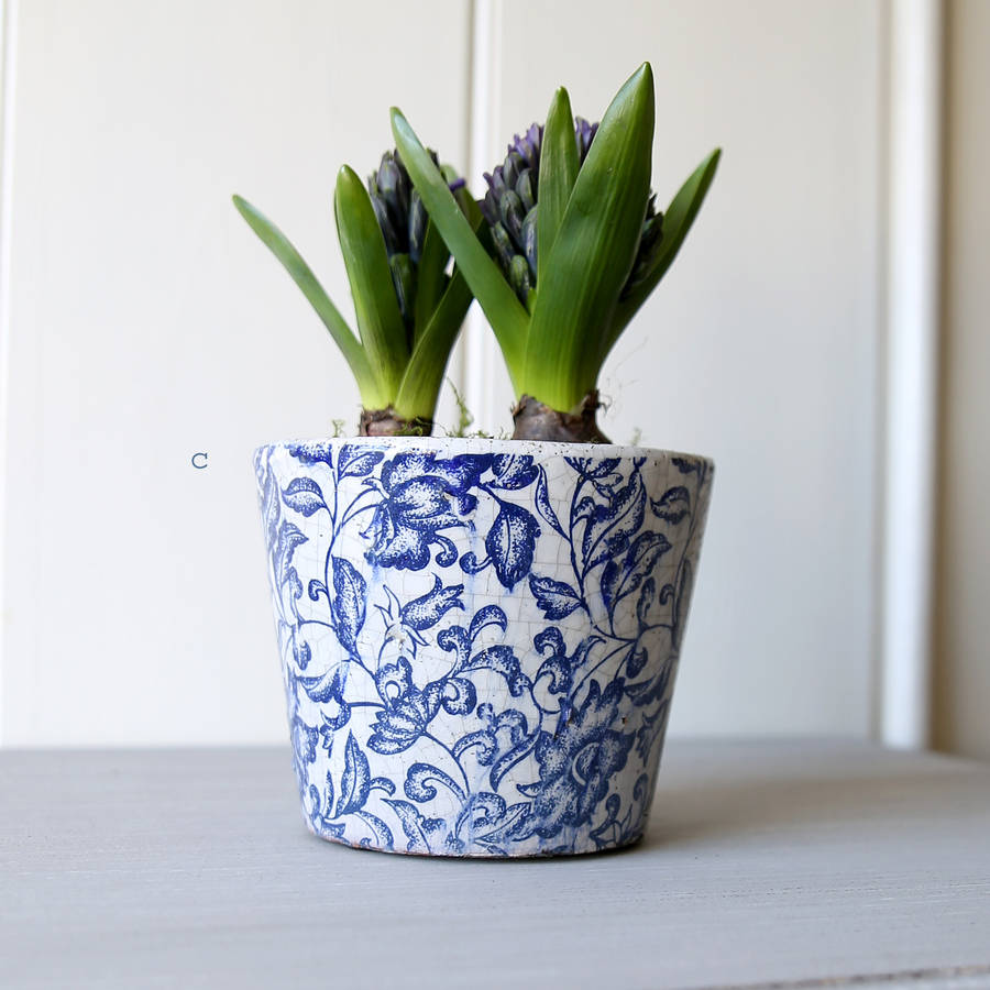 Dutch Floral Patterned Plant Pot By Red Lilly