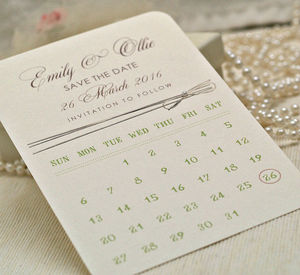 'Calendar Style' Personalised Save The Date Cards - wedding stationery