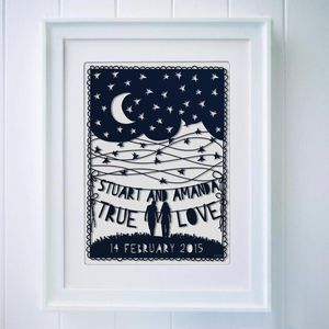 Personalised Night Sky And Words Papercut