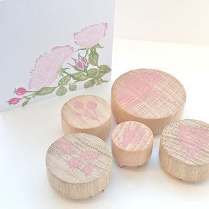 Rose Flower Hand Carved Rubber Stamps - cards & wrap