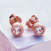 Dot Rose Gold White Topaz Stud Earrings - summer shop