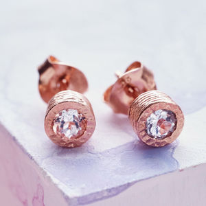 Dot Rose Gold White Topaz Stud Earrings - birthstone jewellery gifts