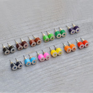 Hexagonal Colour Pencil Earring Studs - earrings