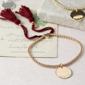 Personalised Dainty Links Bracelet With Name Disc - under £25