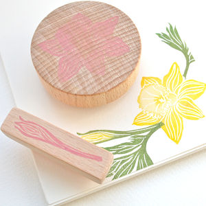Daffodil Flower Hand Carved Rubber Stamps - toys & games