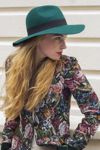 Green Relaxed Wool Fedora - womens