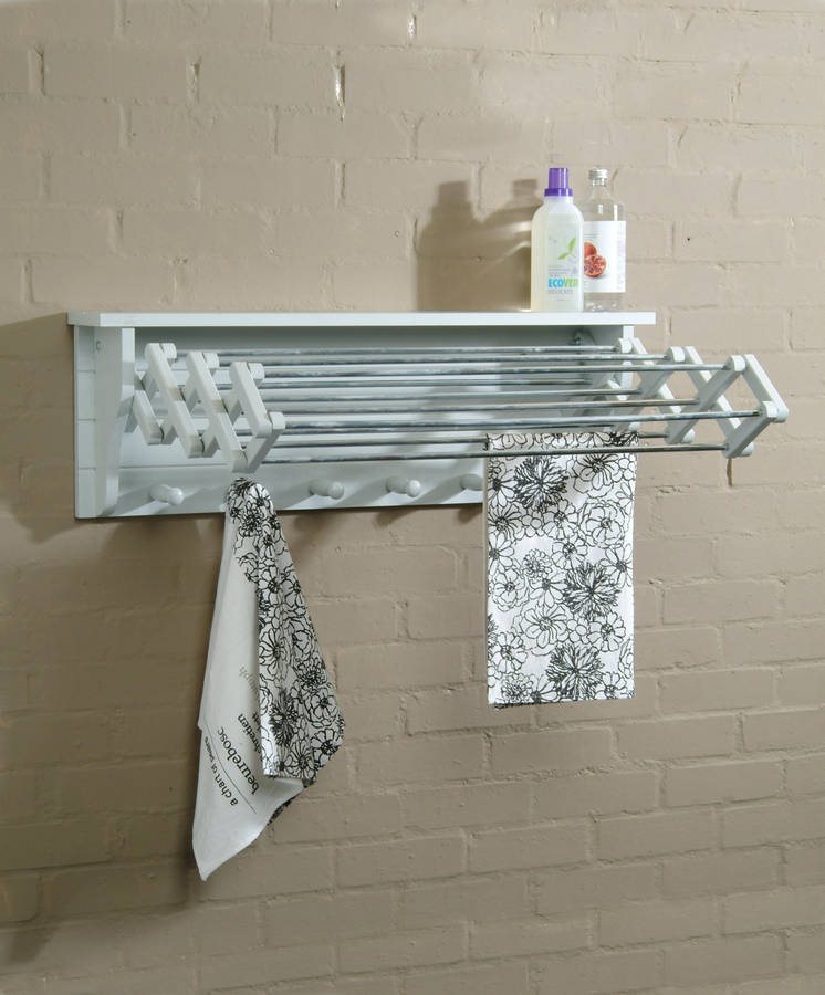 Extending clothes dryer in chalk by garden trading for Porte serviette mural