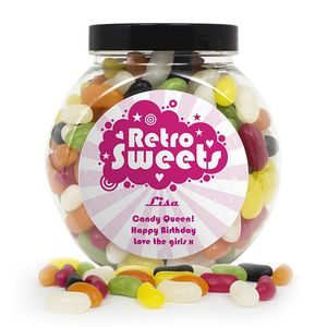 Retro Pink Personalised Jelly Beans Sweet Jar