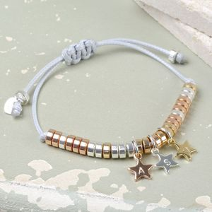 Mixed Metal Disc Bracelet With Stamped Stars
