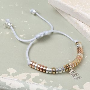 Chunky Mixed Metal Bracelet With Dated Initial Charm - bracelets & bangles