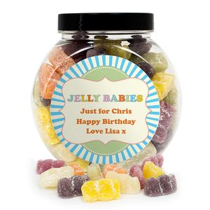 Jelly Babies Personalised Sweet Jar - sweet treats