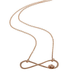 Rose Gold Infinity Necklace With Tiny Rose