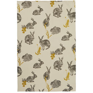 Block Print Rabbits Cotton Tea Towel