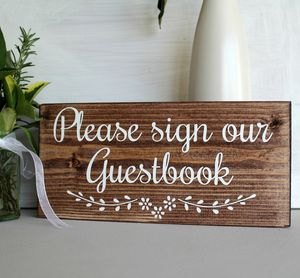 Please Sign Our Guestbook Handmade Wedding Sign - room decorations