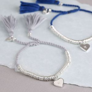 Edie Bracelet With Stamped Initial Heart Charm - winter sale