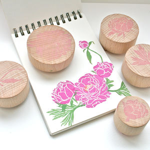 Peony Flower Hand Carved Rubber Stamps - cards & wrap