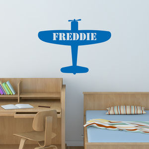 Personalised Aeroplane Wall Sticker - children's room accessories