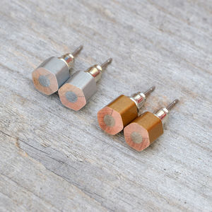 Hexagon Colour Pencil Ear Studs In Silver And Golden - children's jewellery