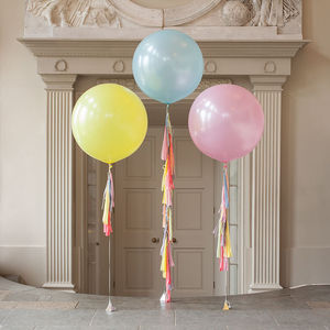 Pastel Rainbow Tassel Tail Balloon Trio