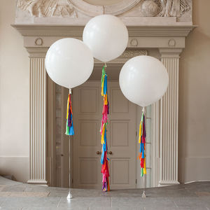 Rainbow Tassel Tail Balloon Trio - room decorations