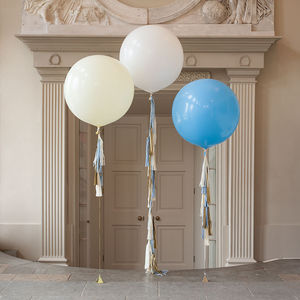 Baby Blue Tassel Tail Balloon Trio