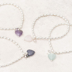 Maya Stone Heart Personalised Silver Bracelet - more
