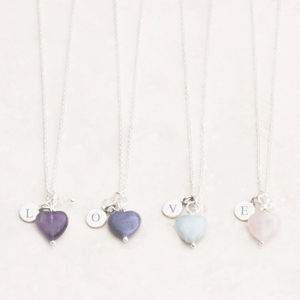 Maya Stone Heart Personalised Silver Necklace - christening jewellery