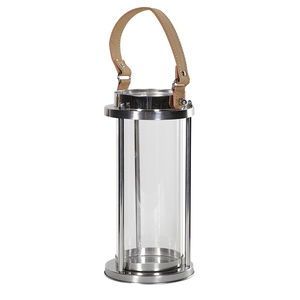 Hurricane Lantern With Leather Handle