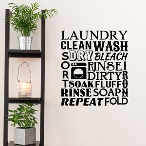 Laundry Room Word Cloud Wall Sticker - wall stickers