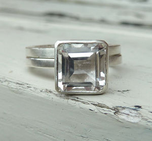 Large White Topaz Ring Set